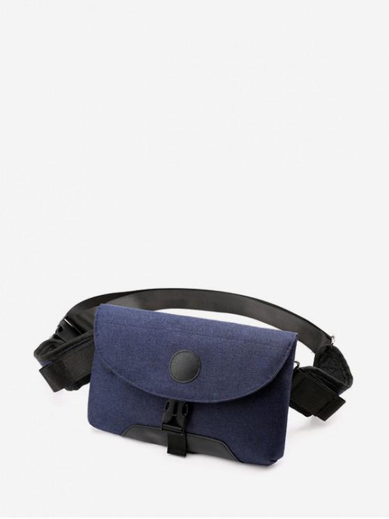 trendy Clip Buckle Casual Flap Fanny Pack - DARK SLATE BLUE