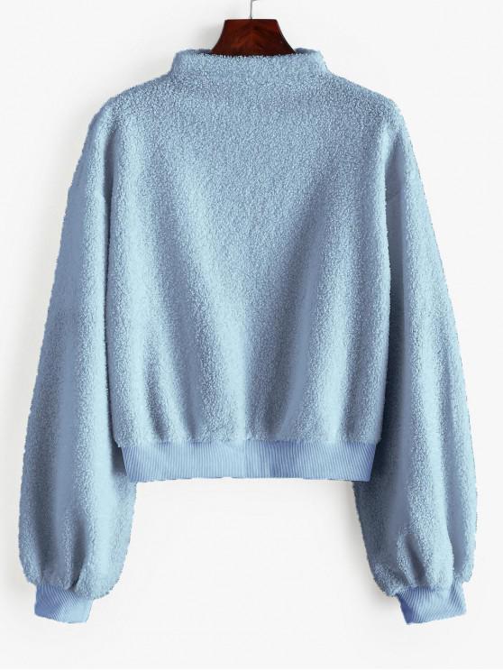 best ZAFUL Mock Neck Pullover Teddy Sweatshirt - BABY BLUE L
