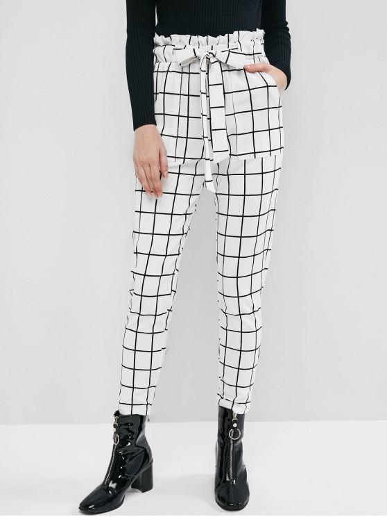 Pantaloni ZAFUL Carouri de buzunar Creion Paperbag - alb S