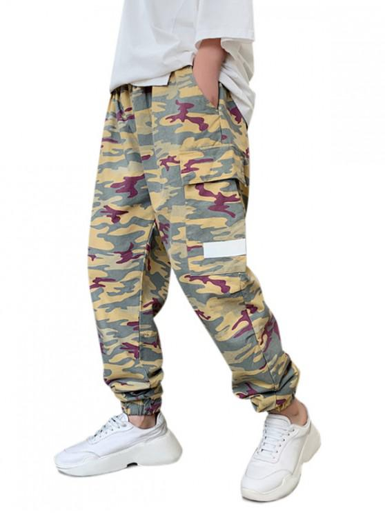 hot Camo Print Drawstring Jogger Cargo Pants - MULTI L