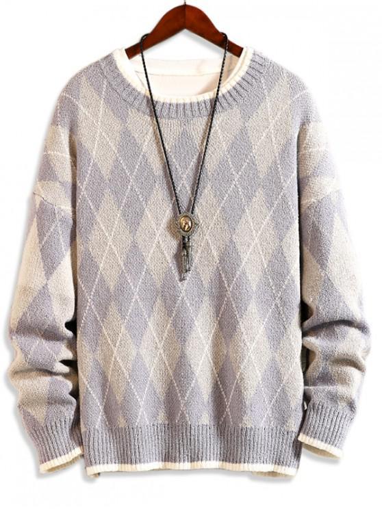 アーガイル柄ラウンドネックカジュアルセーター - ブルーグレー XS