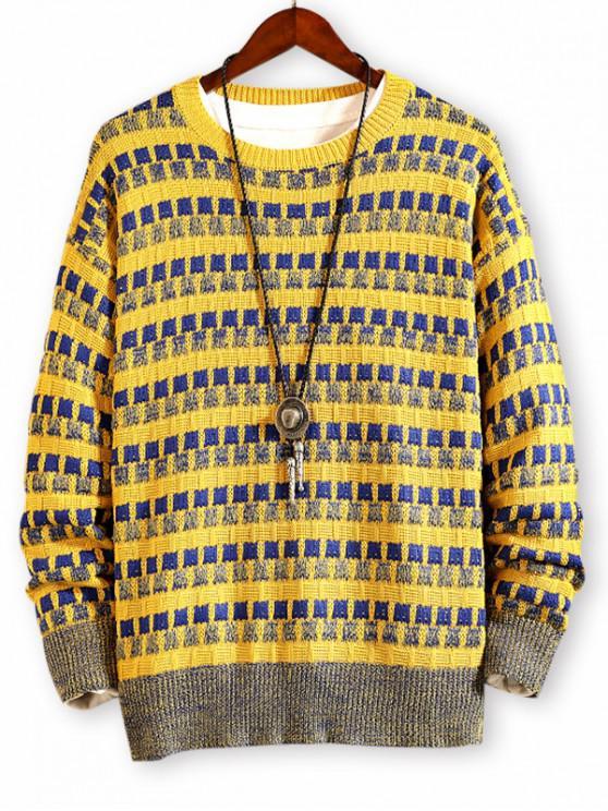 Kariertes Muster Farbe Gespleißter Pullover - Goldrute XL