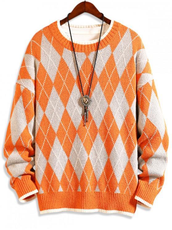 shop Argyle Pattern Round Neck Casual Sweater - PUMPKIN ORANGE L
