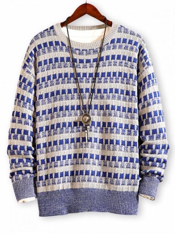Kariertes Muster Farbe Gespleißter Pullover - Ozeanblau 4XL