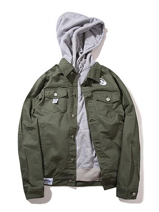 ladies Button Up Casual Cargo Jacket - ARMY GREEN XS