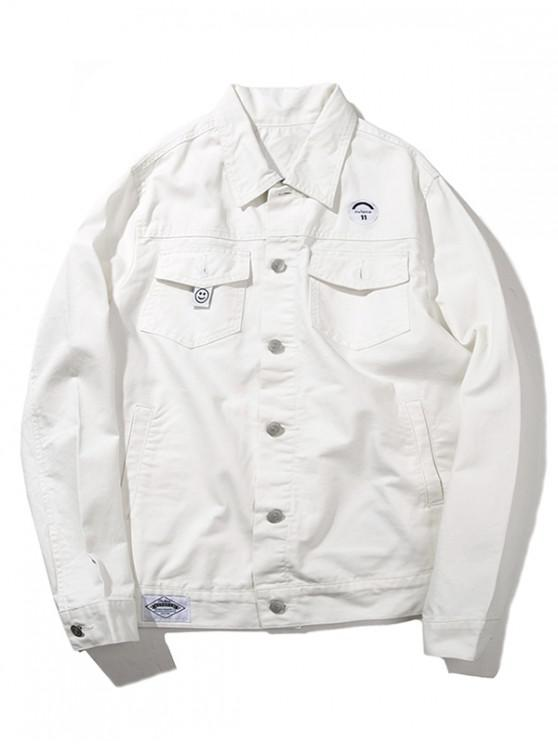 new Button Up Casual Cargo Jacket - WHITE L