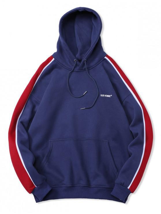 chic Striped Trim Kangaroo Pocket Fleece Hoodie - BLUE L