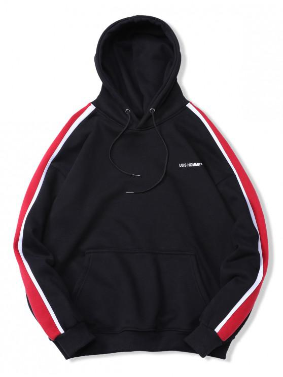 sale Striped Trim Kangaroo Pocket Fleece Hoodie - BLACK XL