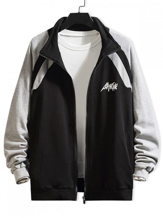 affordable Letter Print Color Blocking Spliced Raglan Sleeve Jacket - BLACK 2XL