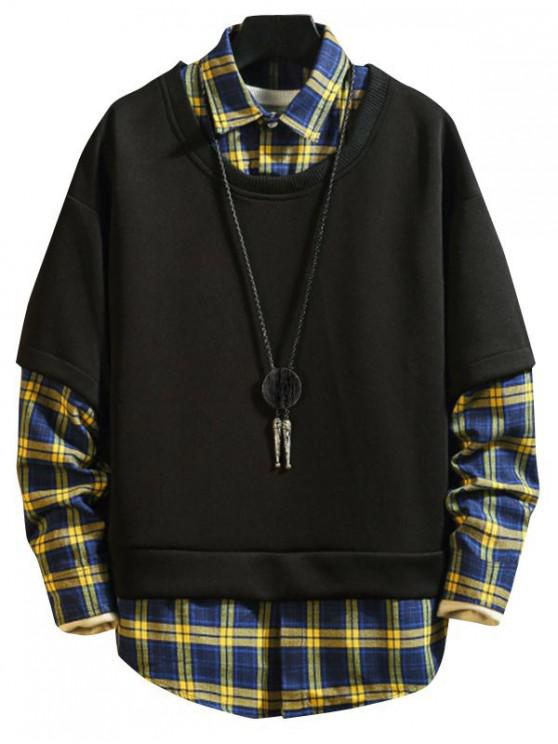 outfit Faux Two Pieces Plaid Pattern Sweatshirt - BLUEBERRY BLUE S