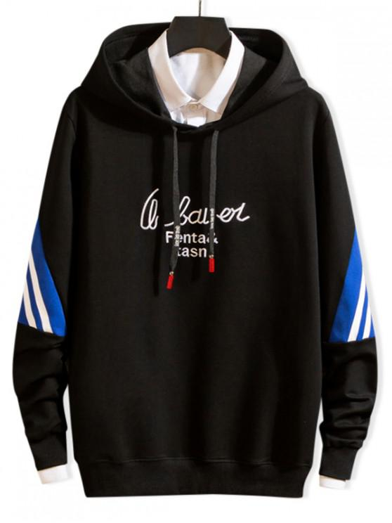 affordable Letter Embroidery Striped Colorblock Drawstring Hoodie - BLACK XS