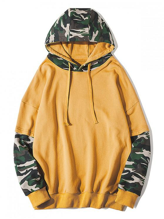 buy Camouflage Print Colorblock Spliced Faux Twinset Hoodie - YELLOW 2XL