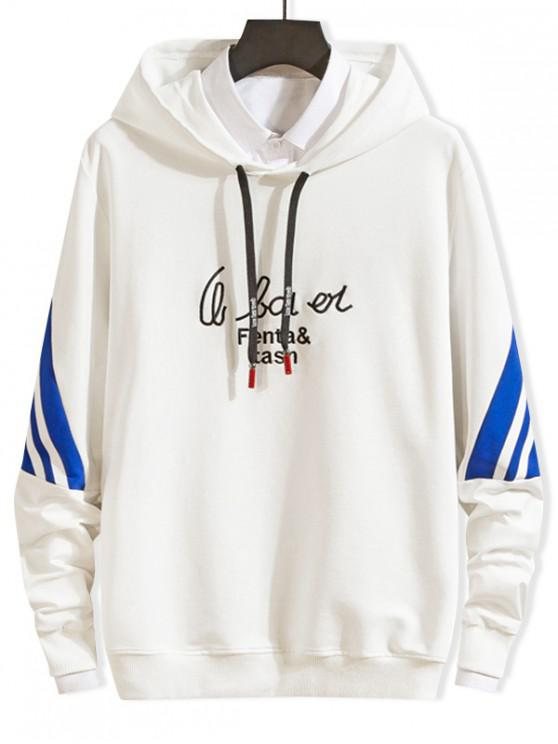 women Letter Embroidery Striped Colorblock Drawstring Hoodie - WHITE S