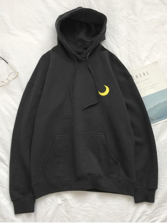 ladies Creative Weather Embroidery Kangaroo Pocket Fleece Hoodie - BLACK L