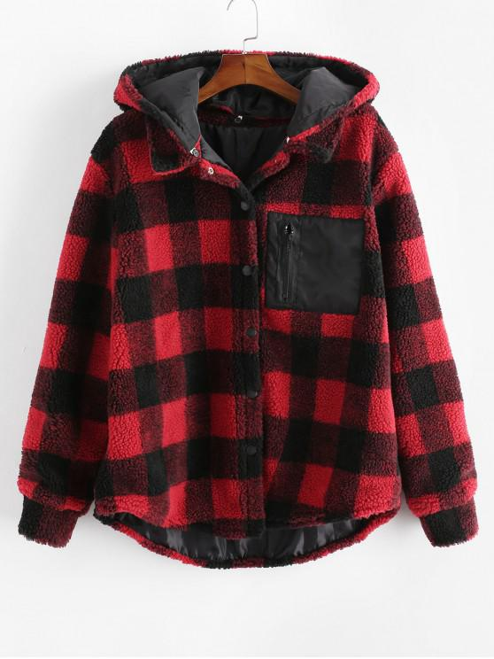 new Plaid Pattern Button Up Casual Hooded Jacket - RED 2XL