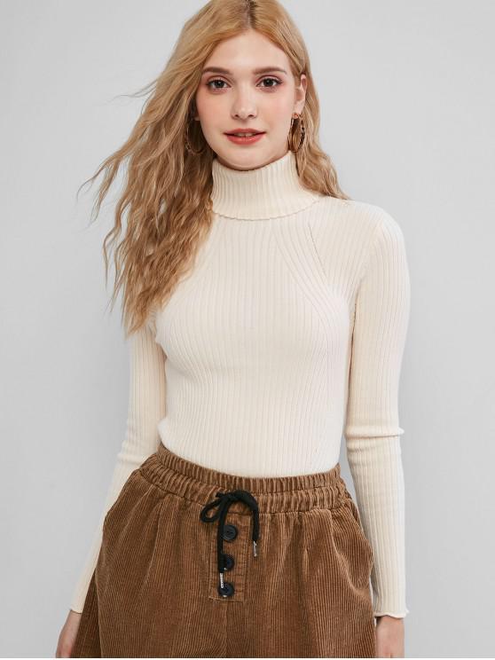 Medio Cuello Llanura suéter delgado - Albaricoque Talla única