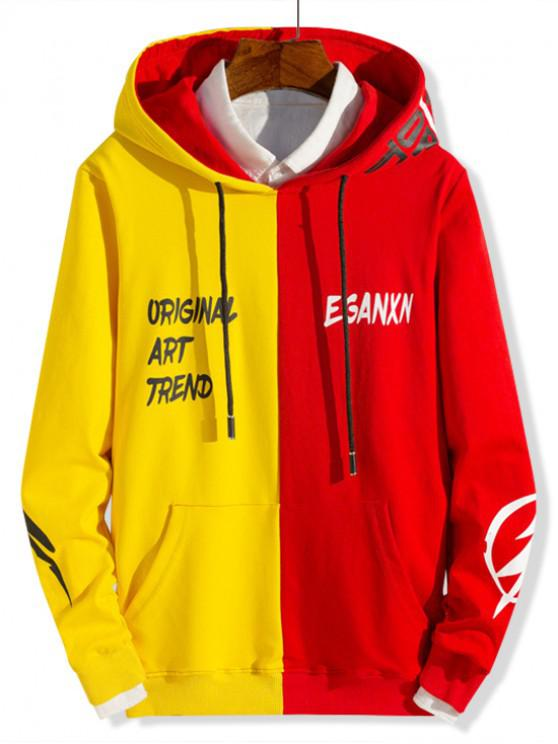 outfits Two Tone Spliced Letter Graphic Pouch Pocket Hoodie - YELLOW XS