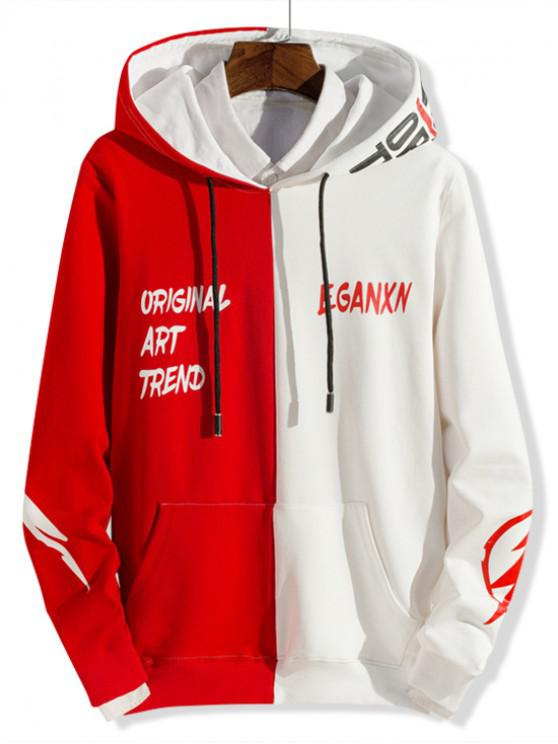 unique Two Tone Spliced Letter Graphic Pouch Pocket Hoodie - WHITE XS