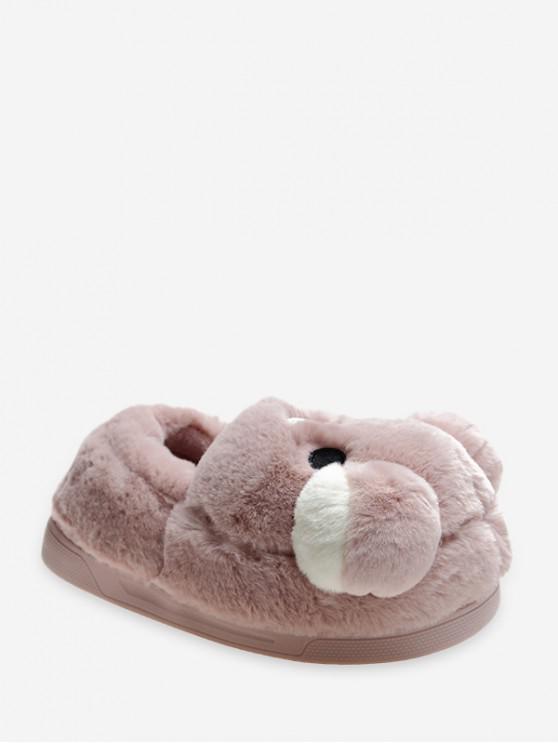 Diseño lindo del oso de felpa resbalón en los zapatos - Rosado EU 38
