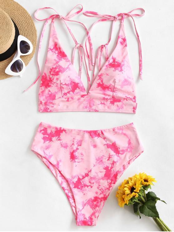 shops ZAFUL Strappy Tie Dye Tankini Swimsuit - DEEP PINK L