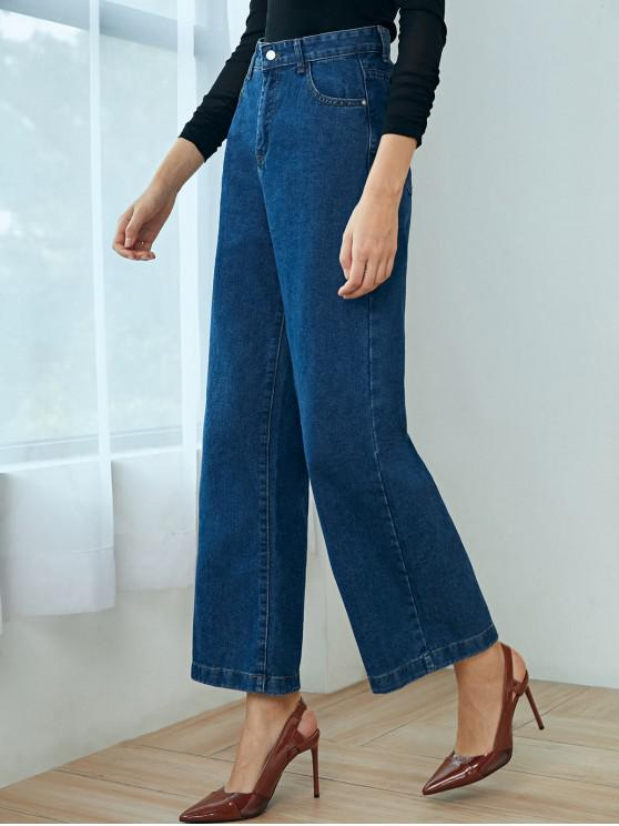new Basic Wide Leg Jeans - BLUE L