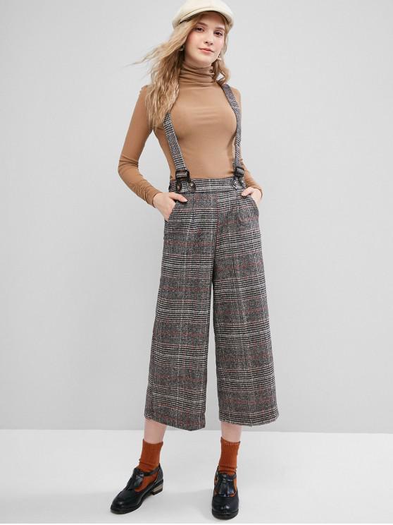 chic Plaid Wide Leg Suspender Pants with Pockets - BLACK M