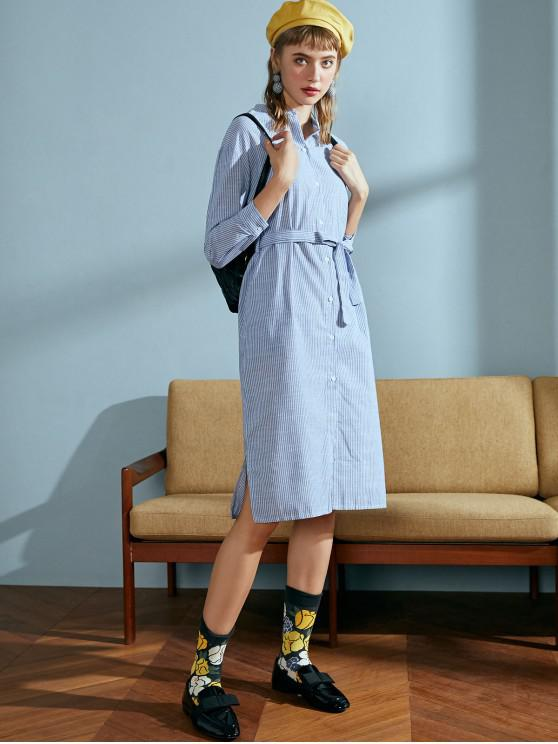 ladies Striped Belted Shirt Dress - DAY SKY BLUE S