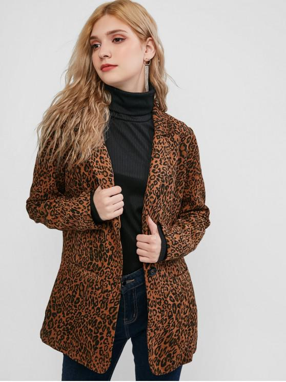 ZAFUL estampado de leopardo con un solo botón Bolsillos Blazer - Leopardo S