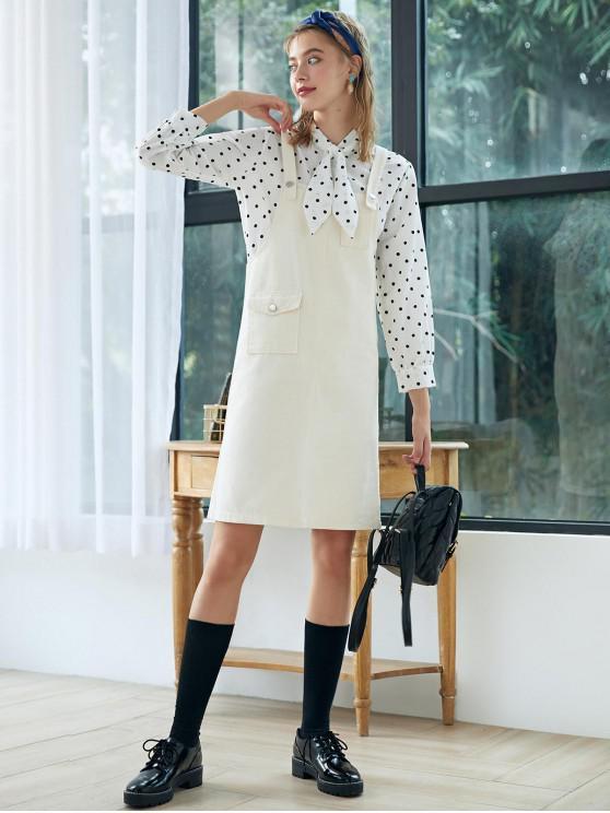 women Front Pocket Denim Overall Dress - WARM WHITE S