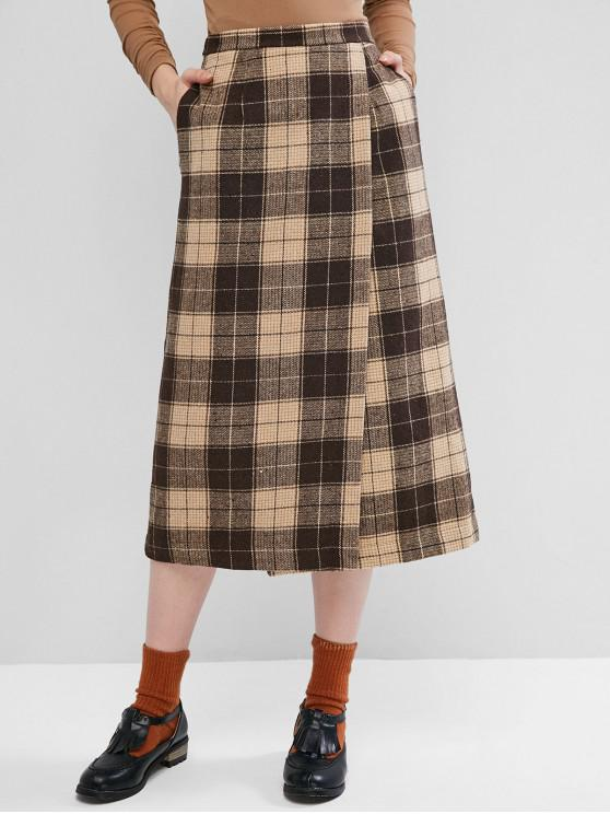 new Pockets Plaid Overlap Midi Skirt - BROWN M