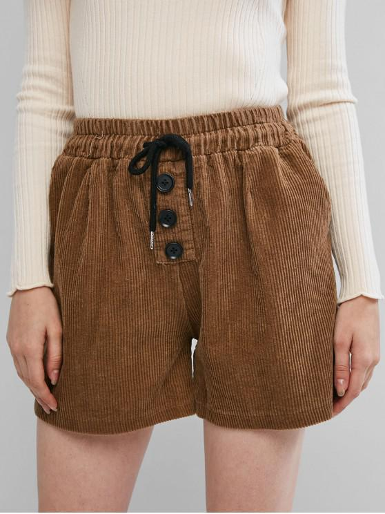 online Corduroy Buttoned Pocket Drawstring Shorts - DARK KHAKI L