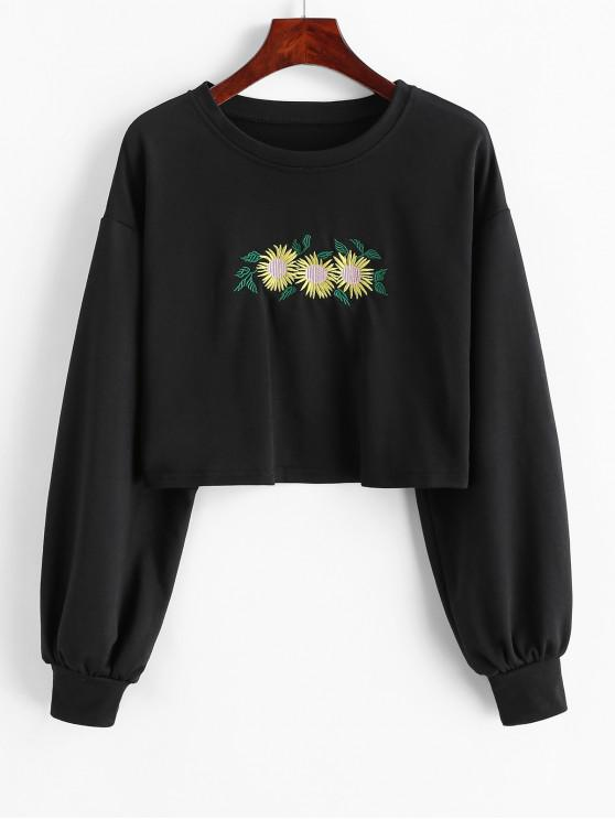 shops Flower Embroidered Drop Shoulder Crop Sweatshirt - BLACK L