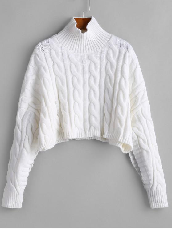 women's Oversized Mock Neck Cable Knit Jumper Sweater - WHITE ONE SIZE