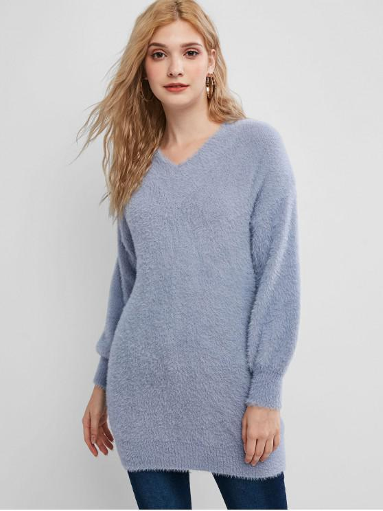 new Drop Shoulder Fuzzy Tunic Knit Sweater - BLUE GRAY ONE SIZE