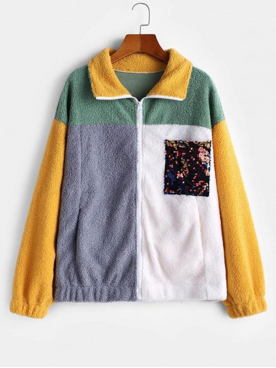 affordable Color-blocking Sequined Pocket Zip Teddy Coat - MULTI-A L