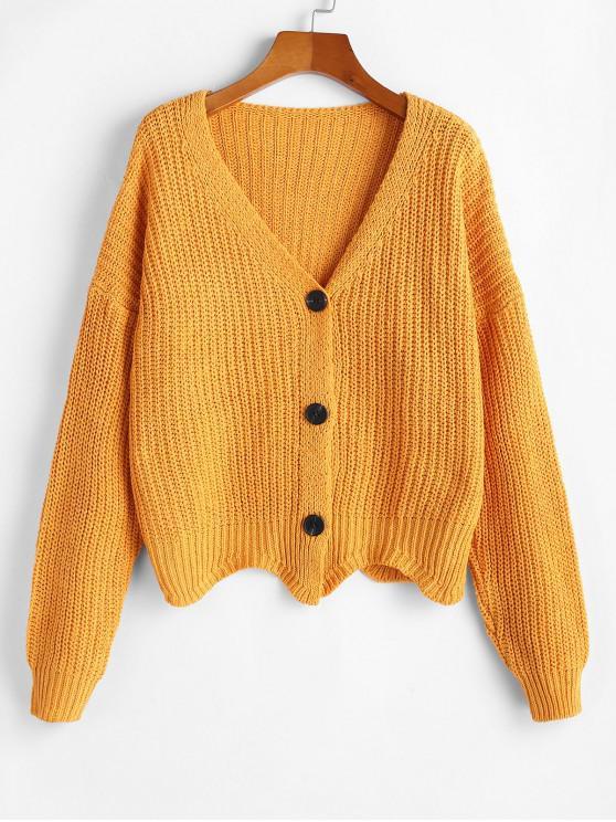 trendy Button Up V Neck Scalloped Hem Cardigan - SAFFRON ONE SIZE