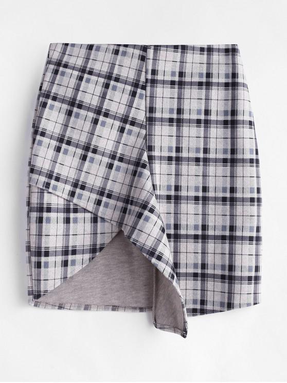 unique Plaid Asymmetrical Wool Blend Skirt - MULTI-A 2XL
