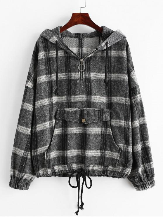 buy Plaid Drop Shoulder Quarter Zip Front Pocket Hoodie - MULTI XL