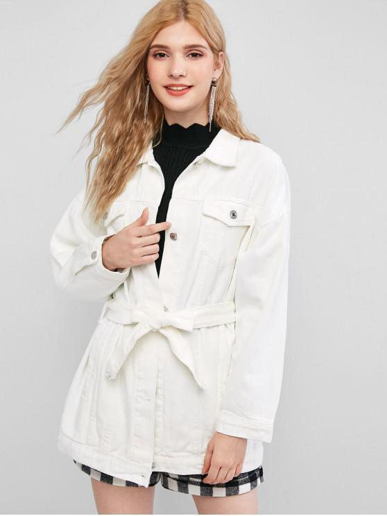 online Belt Longline Denim Jacket - WHITE XS