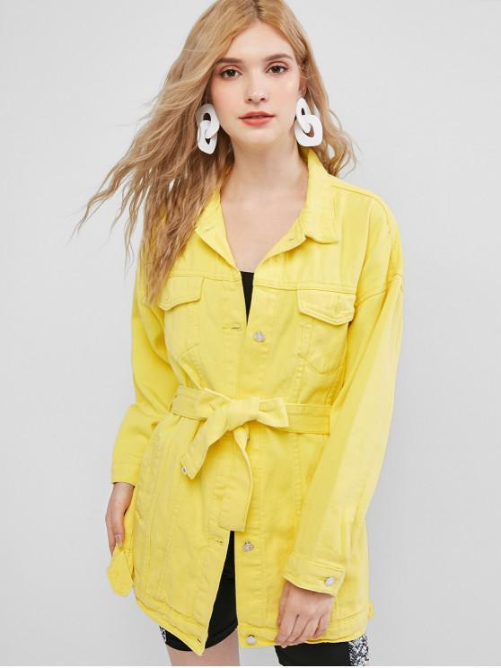 latest Belt Longline Denim Jacket - YELLOW L