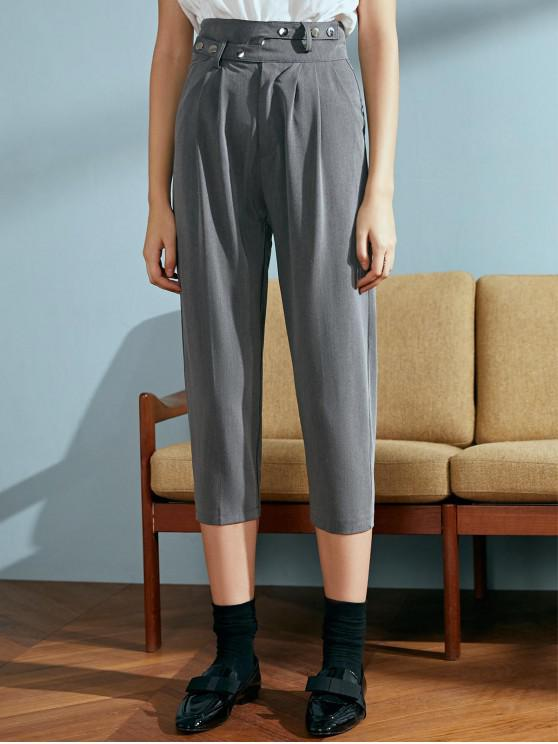 buy Snap Button Cropped Chino Pants - GRAY XL