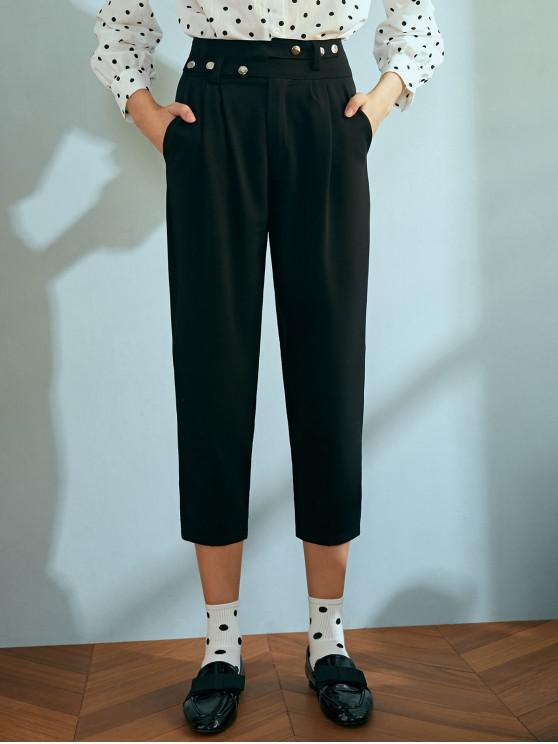 online Snap Button Cropped Chino Pants - BLACK M