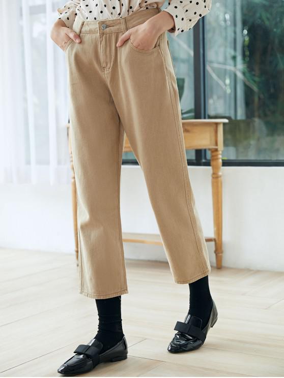 Pantaloni cu fermoar Fly Waisted Pocket ridicat - Bej M