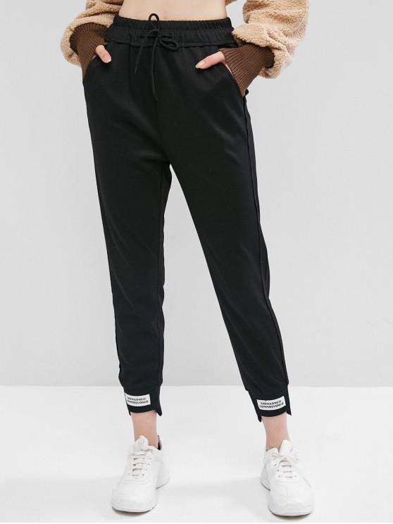 buy Patch Drawstring Jogger Pants - BLACK M
