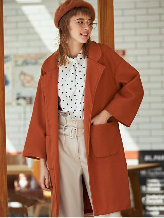 online Lapel Pocket Slit Belted Long Coat - CARAMEL L