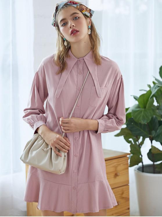 hot Flounce Front Pocket Tunic Dress - PINK M