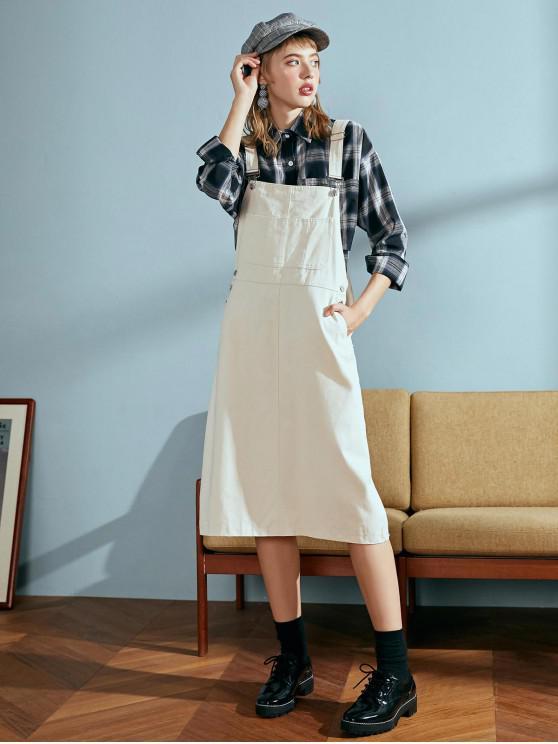 側鈕扣口袋直工作服連衣裙 - 暖白色 One Size