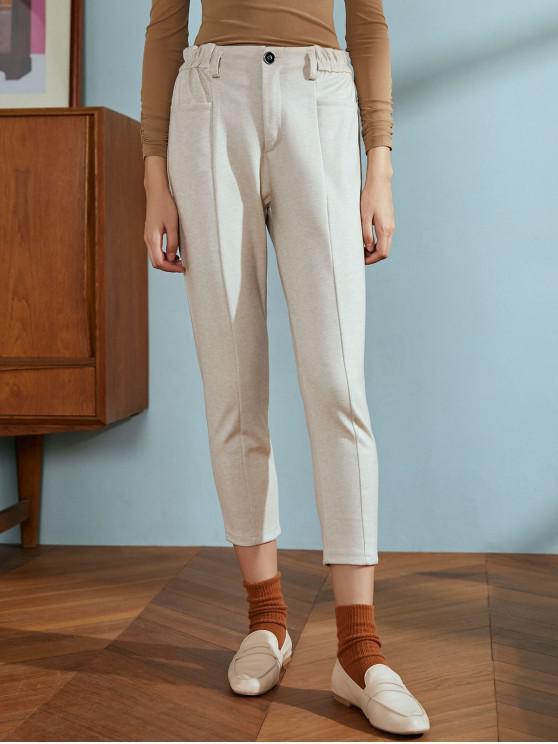 women Slip Pockets Pencil Pants - LIGHT KHAKI M