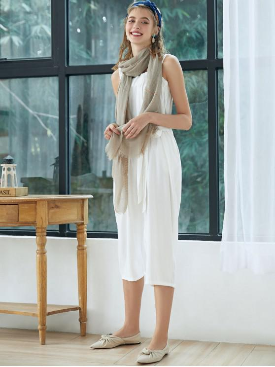 fancy Belted Square Neck Wide Leg Jumpsuit - WHITE XL