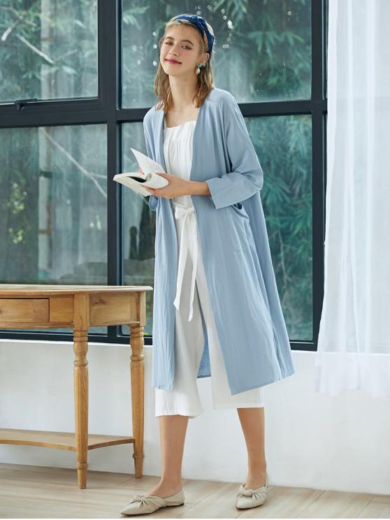 sale Collarless Open Front Pocket Longline Coat - BLUE ONE SIZE